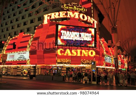 LAS VEGAS, US - OCTOBER 13: Fremont Hotel and Casino on October 13, 2011 in Vegas, US. The total gaming space of this legendary casino located in Downtown Las Vegas is 32,000 square feet - stock photo