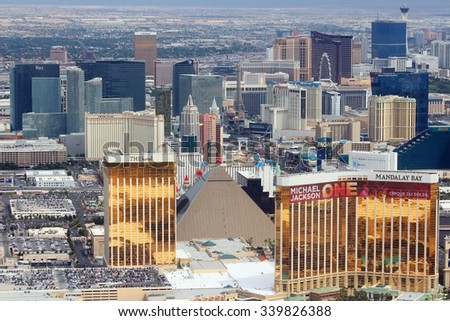 LAS VEGAS, USA - APRIL 15, 2014: Aerial view of The Strip casinos in Las Vegas. Among 25 largest hotels in the world, 15 are located on Las Vegas Strip. - stock photo