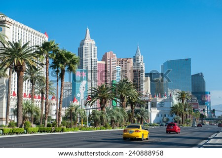 LAS VEGAS, USA  APRIL 7: South Las Vegas Boulevard with Hotel New York New York to the left on April 7, 2011 in Las Vegas. The hotel has more than 2000 rooms and is famous for its roller coaster. - stock photo