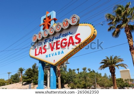 LAS VEGAS, USA - APRIL 14, 2014: Welcome to Fabulous Las Vegas Nevada, famous sign. The sign is on National Register of Historic Places. - stock photo
