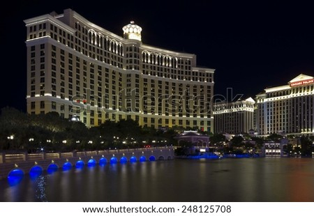 LAS VEGAS, USA - AUG 5: Night view of the famous Bellagio Hotel in Las Vegas, and the Caesars Palace, on August 5 2012 - stock photo
