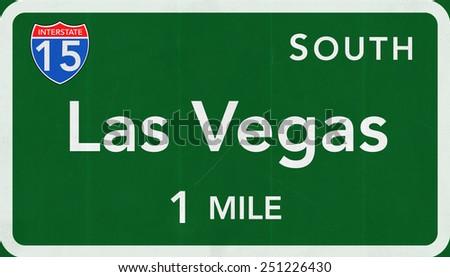 Las Vegas USA Interstate Highway Sign - stock photo