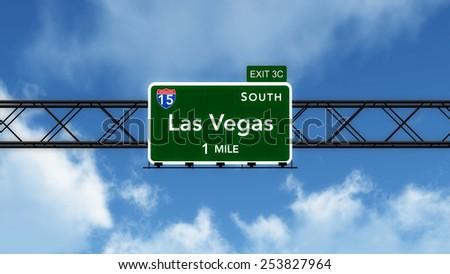 Las Vegas USA Interstate Highway Sign 3D Illustration - stock photo