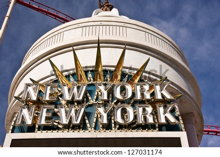 LAS VEGAS, USA - JANUARY 7: A neon sign welcomes visitors to the New York, New York Resort and Casino, a recreation of NYC in the Nevada desert on Jan. 7, 2013 in Las Vegas. - stock photo