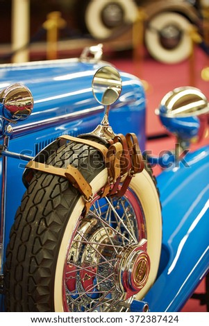 Las Vegas, USA - January 2013: the Mirror on the wheel of the car Rolls-Royce at the Museum of vintage cars. - stock photo