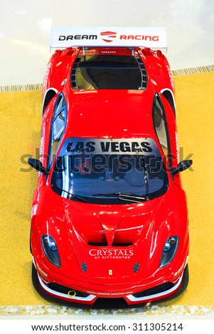 LAS VEGAS, USA - JULY 8 2015: Ferrari F430 GT from Dream racing at Crystall mall on July 8, 2015 in Las Vegas, USA. Dream Racing is a five-star racing and driving experience in Las Vegas. - stock photo
