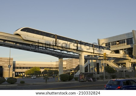 LAS VEGAS, USA - JUNE 22, 2014: Monorail arriving to astation off the Las Vegas Strip on June 22, 2014 in Las Vegas, USA.  Provides for a quick efficient travel between the major casino hotels.