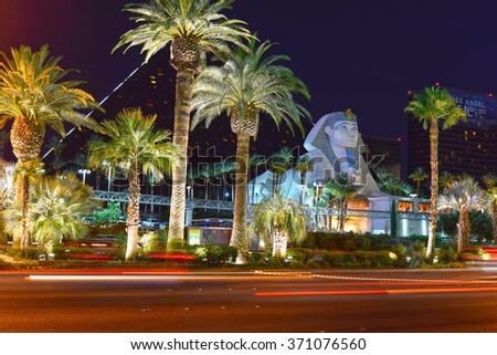 LAS VEGAS, USA - June 14: Part of the Las Vegas Strip on June, 14, 2015. It is a 4.2 mi stretch of the S Las Vegas Blvd with world class hotels and casinos visited by people from all over the world. - stock photo