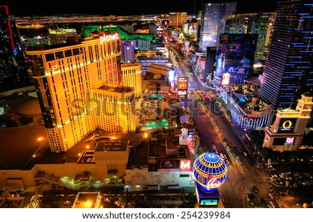 LAS VEGAS, USA - MARCH 18: Aerial view of Las Vegas strip on March 18, 2013 in Las Vegas, USA. Las Vegas is one of the top tourist destinations in the world.