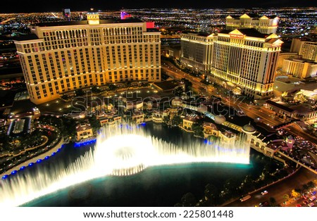 LAS VEGAS, USA - MARCH 18: Fountain show at Bellagio hotel and casino on March 18, 2013 in Las Vegas, USA. Las Vegas is one of the top tourist destinations in the world. - stock photo
