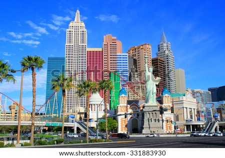 LAS VEGAS, USA - MARCH 18: New York - New York hotel and casino on March 18, 2013 in Las Vegas, USA. Las Vegas is one of the top tourist destinations in the world.