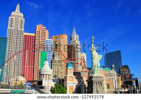 LAS VEGAS, USA - MARCH 19: New York - New York hotel and casino on March 19, 2013 in Las Vegas, USA. Las Vegas is one of the top tourist destinations in the world.