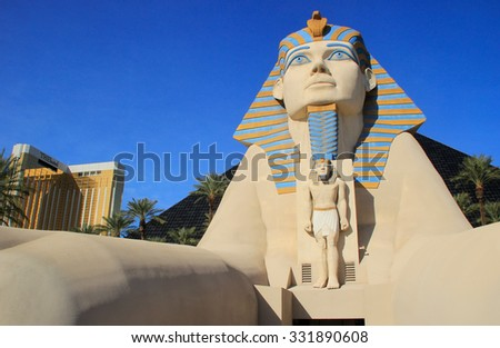 LAS VEGAS, USA - MARCH 19: Replica of Great Sphinx of Giza at Luxor hotel and casino on March 19, 2013 in Las Vegas, USA. Las Vegas is one of the top tourist destinations in the world. - stock photo
