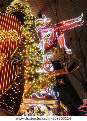 LAS VEGAS, USA - MARCH 23, 2014 : The Fremont Street Experience in Las Vegas, USA. The Fremont Street Experience is a pedestrian mall and attraction in downtown Las Vegas - stock photo