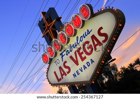 LAS VEGAS, USA - MARCH 19: Welcome to Fabulous Las Vegas sign with lights on March 19, 2013 in Las Vegas, USA. Las Vegas is one of the top tourist destinations in the world.