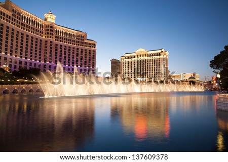 LAS VEGAS, USA - MAY 9: The fountains at Bellagio Hotel and Casino in Las Vegas, NV seen May 9, 2007. These choreographed fountains have been the centerpiece of the hotel since it opened in 1998. - stock photo