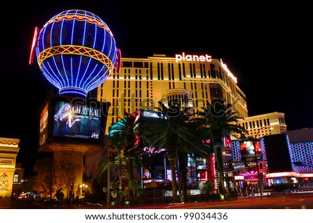 Las Vegas, USA - November 30, 2011: The Planet Hollywood Resort and Casino and the Montgolfier Balloon Replica at the Paris Las Vegas Hotel and Casino seen on November 30, 2011 in Las Vegas.