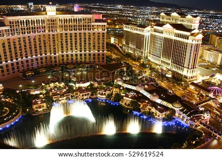 LAS VEGAS, USA - Oct 30: Fountain show at Bellagio hotel and casino on Oct 30, 2014 in Las Vegas, USA. Las Vegas is one of the top tourist destinations in the world.