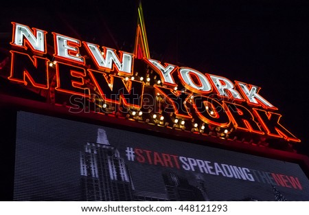 LAS VEGAS, USA - OCTOBER 17, 2015: Neon sign for Las Vegas hotel New York, New York by night