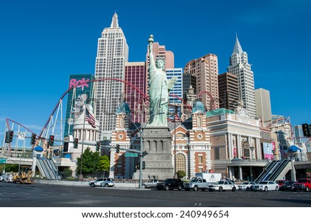 LAS VEGAS, USA OCTOBER 7: South Las Vegas Boulevard with Hotel New York New York on October 7, 2011 in Las Vegas. The hotel, which has more than 2000 rooms, is famous for its roller coaster.