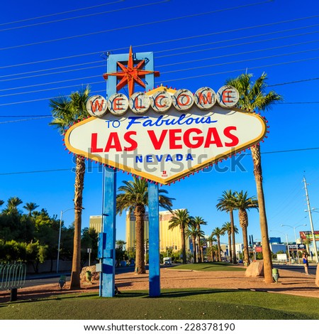 LAS VEGAS, USA - October 29: Welcome to Fabulous Las Vegas sign on October 29, 2014 in Las Vegas, USA. Las Vegas is one of the top tourist destinations in the world. - stock photo