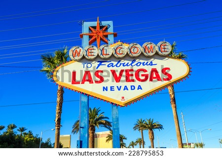 LAS VEGAS, USA - October 29: Welcome to Fabulous Las Vegas sign on October 29, 2014 in Las Vegas, USA. Las Vegas is one of the top tourist destinations in the world.