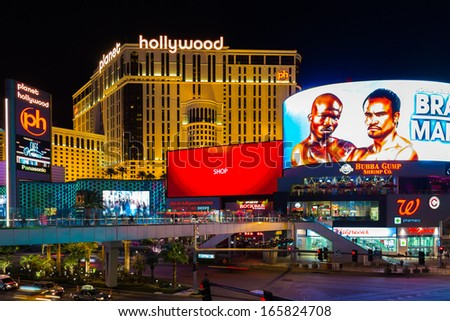 LAS VEGAS, USA - SEP 15: Famous Las Vegas Strip hotels on September 15, 2013 in Las Vegas. The Las Vegas Strip is an approximately 4.2-mile stretch of Las Vegas Boulevard in Clark County, Nevada. - stock photo