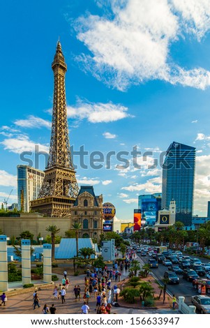 LAS VEGAS, USA - SEP 15: Paris Las Vegas hotel and Casino featured with the theme of Paris in France on September 15, 2013 in Las Vegas, Nevada.