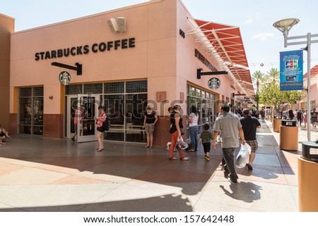 LAS VEGAS, USA - SEP 15: Starbucks Coffee at Premium Outlet on September 15, 2013 in Las Vegas, Nevada. The largest coffeehouse company in the world with 18,887 stores. - stock photo