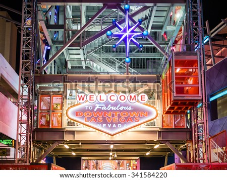 LAS VEGAS, USA - SEPTEMBER 09: Fremont Street on September 09, 2015 in Las Vegas, United States. It is a major resort city known primarily for gambling, shopping, fine dining and nightlife. - stock photo