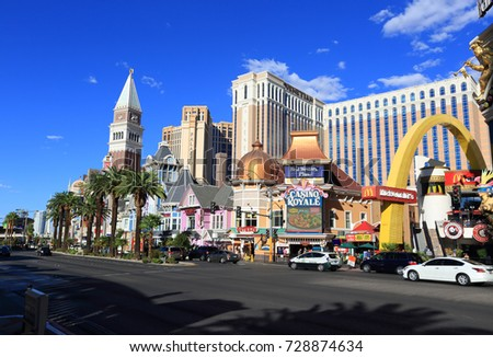 Las Vegas, USA - September 12, 2017: Las Vegas Boulevard - the Las Vegas Strip. Many of the largest hotel, casino, and resort properties in the world are located on the Las Vegas Strip.