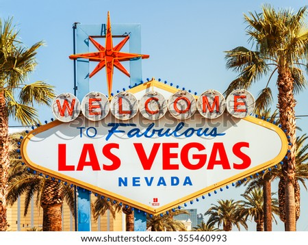 LAS VEGAS, USA - SEPTEMBER 11: LV sign on September 11, 2015 in Las Vegas, United States. It is an renowned major resort city known primarily for gambling, shopping, fine dining and nightlife.