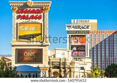 LAS VEGAS, USA - SEPTEMBER 27: The Mirage, Caesars Palace and other resorts on the strip. Vegas has 147,611 hotel rooms with a average daily rate of $106 on September 27 2013 in Las Vegas, USA