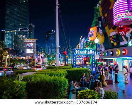 LAS VEGAS, USA - SEPTEMBER 08: Unidentified tourists in the strip on September 08, 2015 in Las Vegas, United States. - stock photo