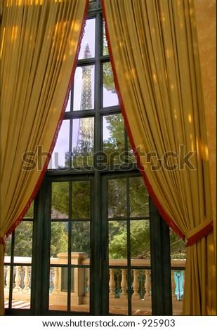 Las Vegas version of the Eiffel Tower - stock photo
