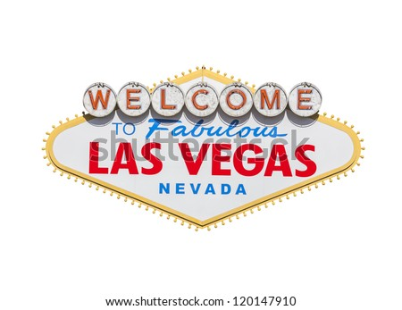 Las Vegas welcome sign diamond shape isolated with clipping path. - stock photo