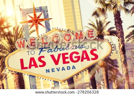 Las Vegas Welcome Sign. Famous Strip Sign. Nevada, USA. - stock photo