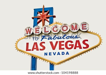 Las Vegas Welcome sign isolated on white - stock photo