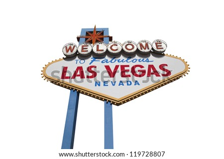 Las Vegas welcome sign isolated with clipping path.