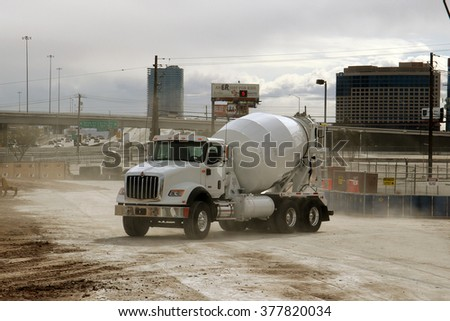 Las-Vegs, USA, Feb 1, 2016: Mixer truck International HX new series at presentation in Las-Vegas, Nevada, Feb 1st, 2016  - stock photo