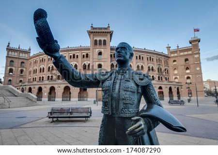 Las Ventas Bullring (Plaza de Toros de Las Ventas), a Neo-Mudejar (Moorish) style building situated in the Guindalera quarter of the district of Salamanca and home of bullfighting in Madrid, Spain. - stock photo