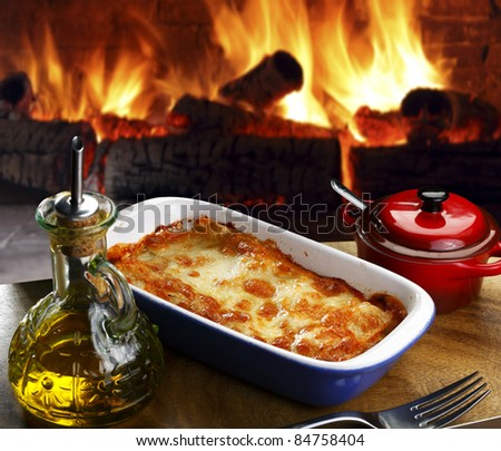Lasagna baked - stock photo