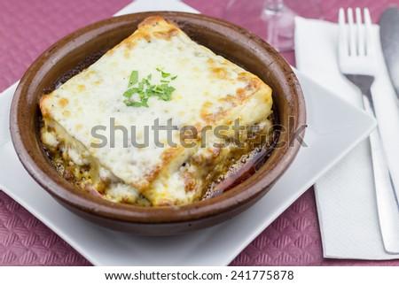 Lasagna closeup - stock photo
