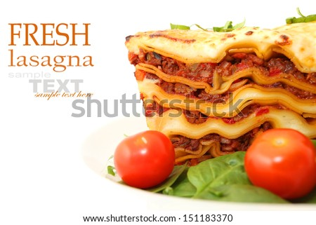 lasagna isolated on white  - stock photo