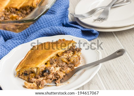 Lasagna layered with crescent roll dough and ground beef and vegetables, a common meal for families in Hawaii
