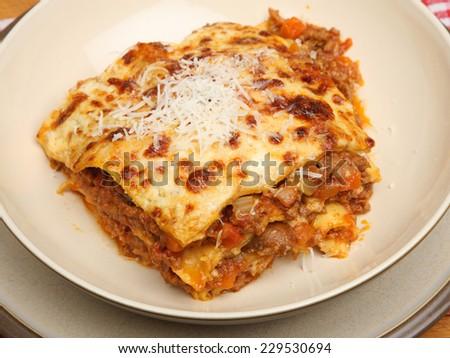Lasagna made to a traditional Italian recipe - stock photo