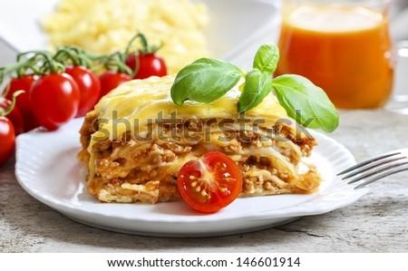 Lasagna, traditional italian dish - stock photo