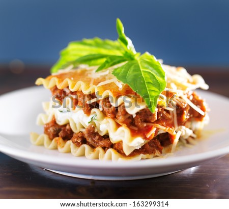 Lasagna with basil and ricotta cheese - stock photo