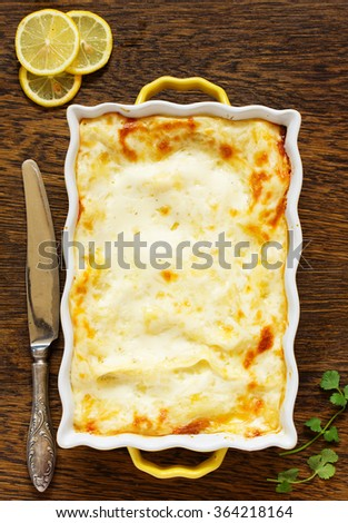 Lasagna with chicken and mushrooms. View from above.