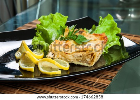 Lasagna with chicken in the kitchen - stock photo